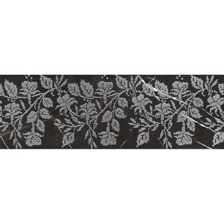 Декор GRACIA CERAMICA Geneva black decor 01 25х75см